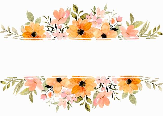 Borde de marco de flor naranja con acuarela