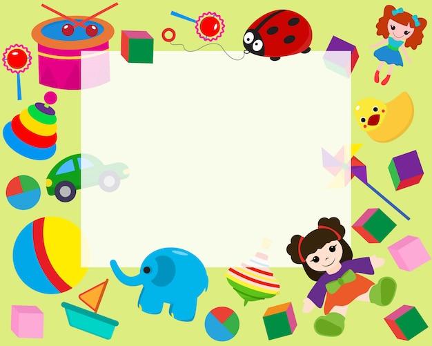 Borde de marco horizontal con coloridos juguetes en estilo de dibujos animados banner ilustración.