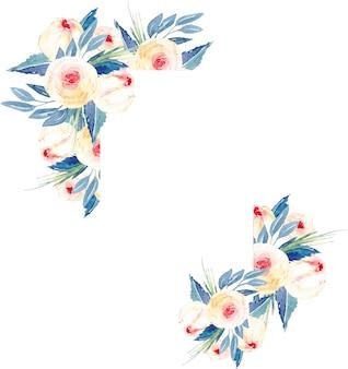 Borde de marco de rosas rosadas, hojas azules y ramas