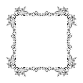 Borde y marco vintage con estilo barroco. color blanco y negro. decoración de grabado floral
