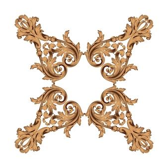 Borde y marco vintage con estilo barroco. color dorado. decoración de grabado floral