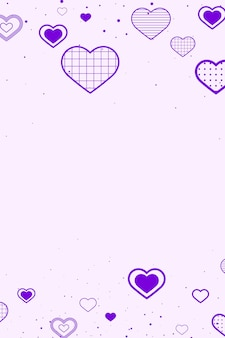 Borde morado decorado con corazones