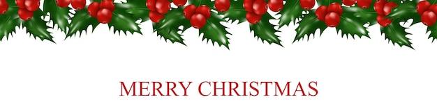 Borde de navidad de bayas de acebo. decoraciones de guirnaldas de navidad y año nuevo.