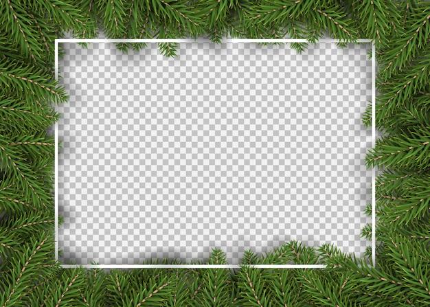 Borde de navidad con ramas de abeto realistas