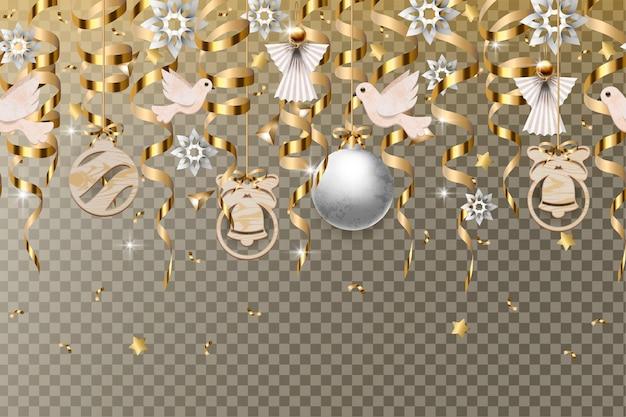 Borde de navidad con serpentinas de oro y bolas aisladas.