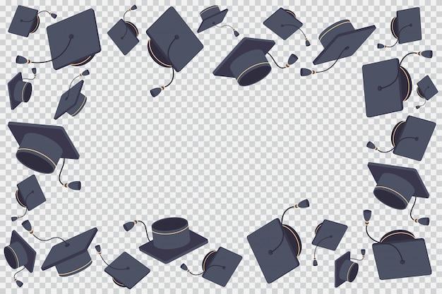 Borde o marco con ilustración de dibujos animados de gorro graduado volador aislado en un fondo transparente.