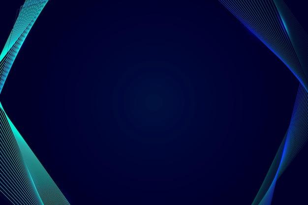 Borde de onda sintética de neón sobre un fondo azul oscuro