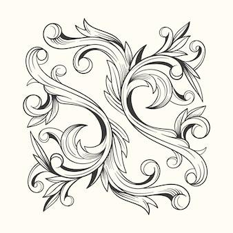 Borde ornamental dibujado a mano de estilo barroco realista