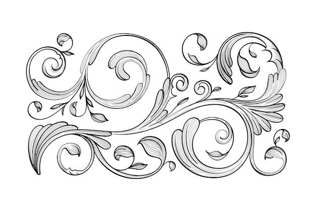 Borde ornamental dibujado a mano realista
