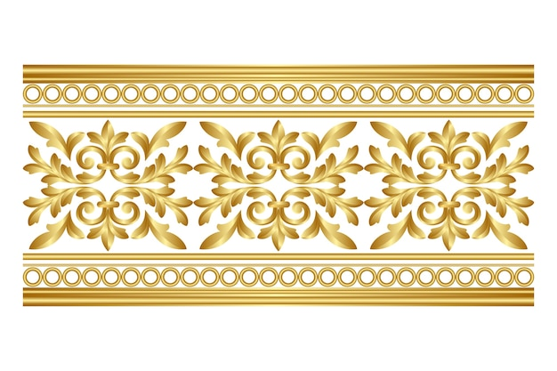 Borde ornamental de diseño dorado
