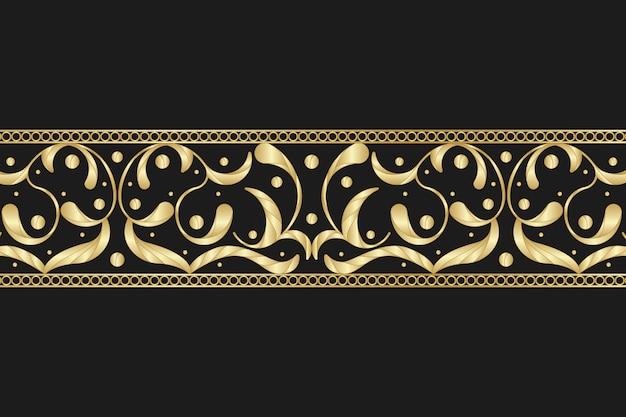 Borde ornamental dorado sobre fondo negro