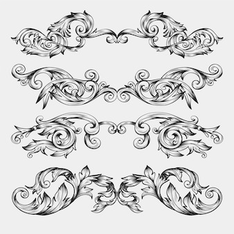 Borde ornamental realista dibujado a mano