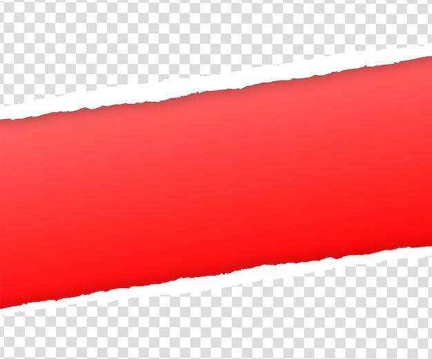 Borde de papel rojo rasgado en transparente