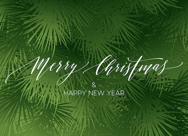 Borde de ramas de árbol de navidad con letras de escritura a mano