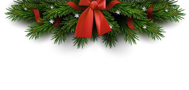 Borde de ramas de arbol de navidad