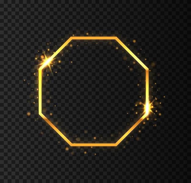 Borde de rectángulo realista de lujo dorado