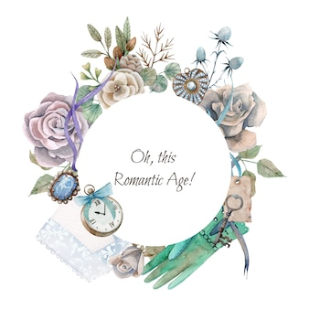 Borde redondo acuarela dibujada a mano con elementos románticos vintage