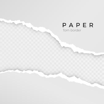 Borde roto áspero de la raya de papel