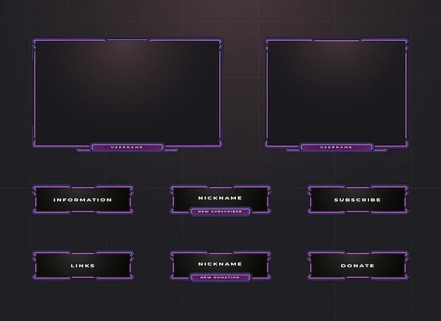 Borde de twitch púrpura y conjunto de diseño de superposición de panel de menú Vector Premium