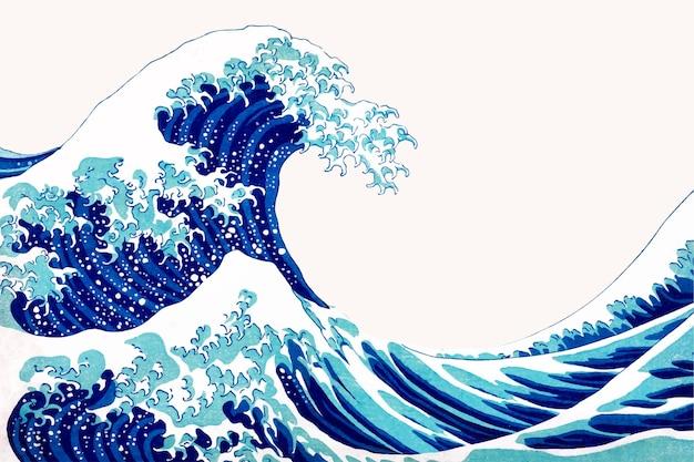 Borde de vector japonés de onda vintage, remezcla de obras de arte de katsushika hokusai