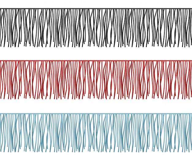 Borde de volantes, flecos sin costuras, líneas vectoriales, componente de prendas. ilustración de borde de pincel con borla y ribete