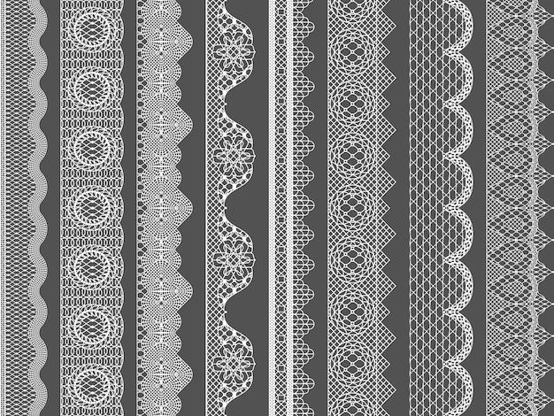 Bordes de cinta de encaje transparente de vector