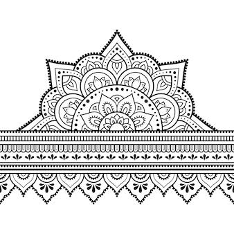 Bordes sin costuras con mandala para, aplicación de henna, mehndi y tatuaje. patrón decorativo en estilo étnico oriental, indio. doodle de adorno. esquema mano dibujar ilustración.
