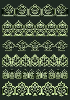 Bordes florales ornamentales persas con exuberantes flores abstractas y elementos decorativos orientales tradicionales para el diseño de texto o página