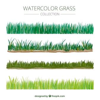 Bordes de hierba de acuarela en diferentes tonos de verde