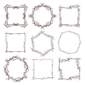 Bordes de marco de rama rústica vintage