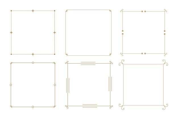 Bordes de marco vintage decorativo elegante conjunto de seis