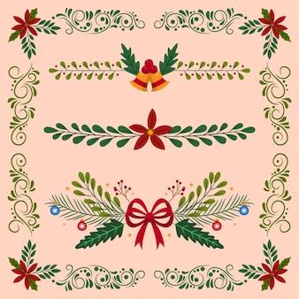 Bordes y marcos navideños dibujados a mano