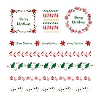 Bordes y marcos navideños de diseño plano