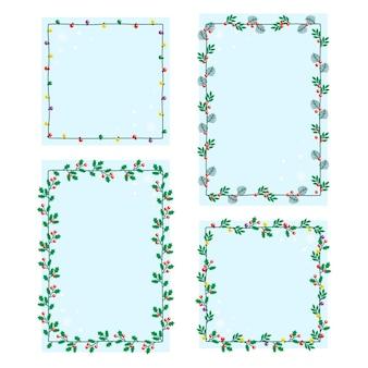 Bordes y marcos navideños planos