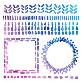 Bordes y marcos tie-dye pintados a mano