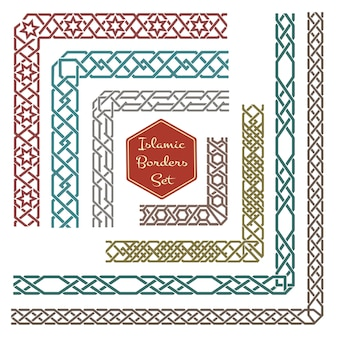Bordes ornamentales islámicos con esquinas. borde de patrón, ornamento de patrón de esquina, ilustración de borde de esquina decorativa
