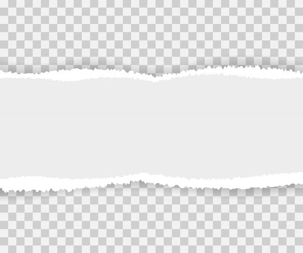 Bordes de papel rasgados, sin costura horizontalmente.