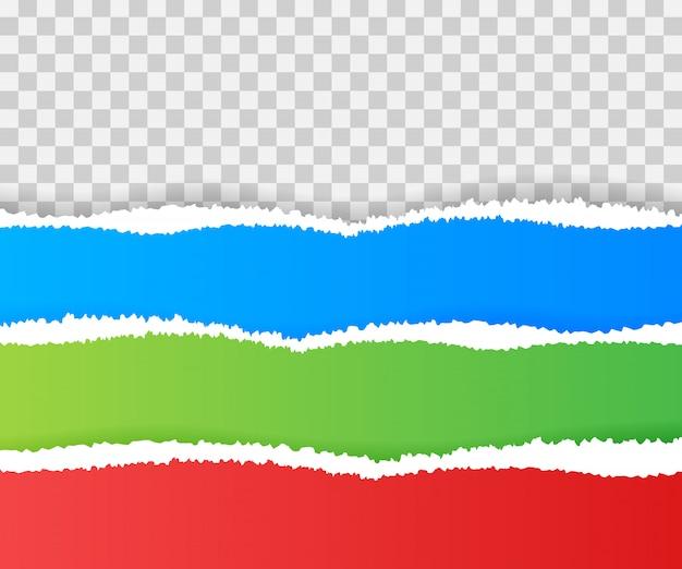 Bordes de papel rasgados, sin costuras horizontales.