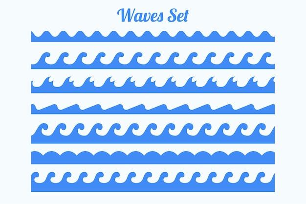 Bordes de patrón de olas de mar conjunto de siete