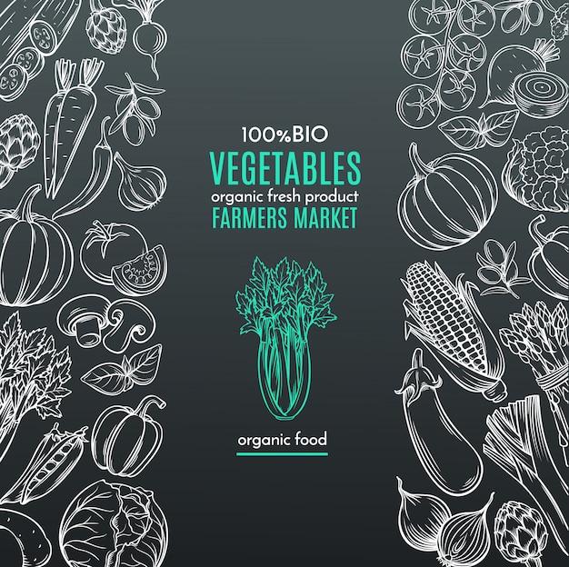 Bordes de plantilla con vegetales dibujados a mano