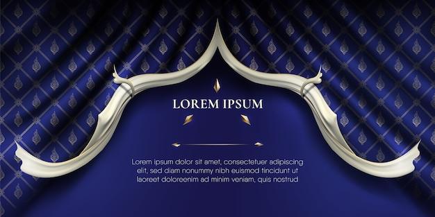 Bordes de rip curl lisos blancos sobre fondo de patrón tailandés de cortina de tela de seda azul ondulada