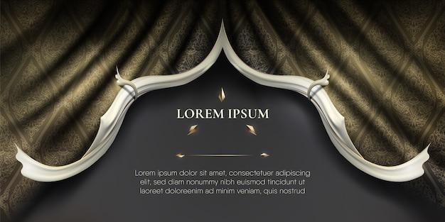 Bordes de rip curl lisos blancos sobre fondo de patrón tailandés de cortina de tela de seda dorada ondulada
