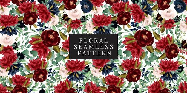 Borgoña y blush patrón floral sin fisuras