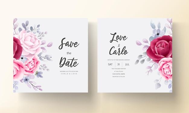 Borgoña elegante una tarjeta de invitación de boda de acuarela floral púrpura