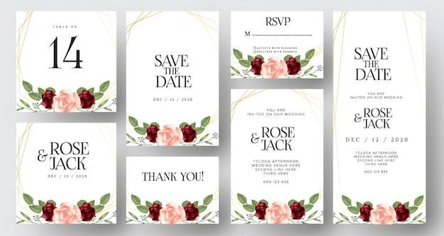 Borgoña rubor acuarela floral boda invitación tarjetas