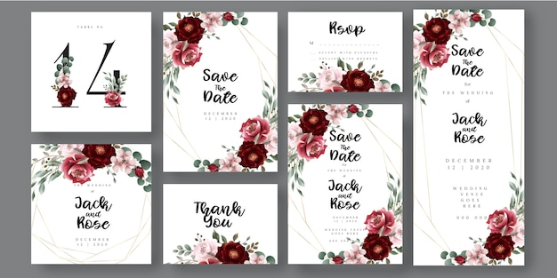 Borgoña y tarjeta de invitación de boda botánica floral blush