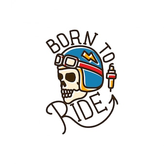 Born to ride skull line tatuaje