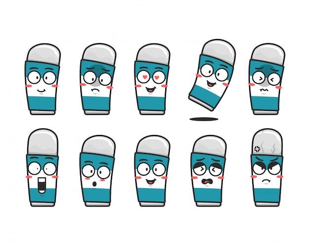Borrador papelería personaje de dibujos animados mascota conjunto expresión emoticon cara