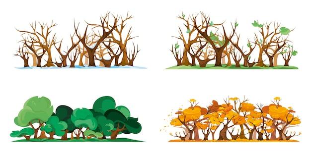 Bosque aislado en diferentes épocas del año. cuatro estaciones en estilo de dibujos animados.