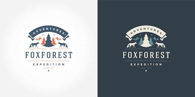 Bosque camping logo emblema aventura al aire libre ilustración vectorial silueta de árbol de pino para camisa o sello de impresión. diseño de placa de tipografía vintage.